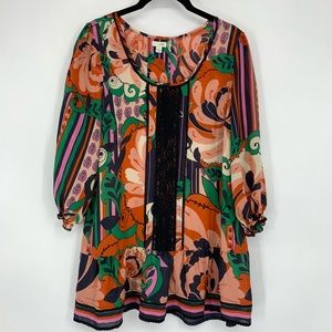 Odille Anthropologie Printed Silk Flounce Blouse